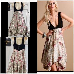 BUDDHIST PUNK Plunging Bohemian Silk Tunic Dress M